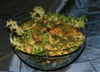 Zelena topla salata sa piletinom