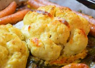 Pečeni karfiol ucelo sa puterom i mocarelom i supa od karfiola