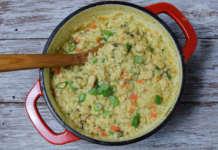 Kremasti rižoto sa belim mesom, gljivama i povrćem